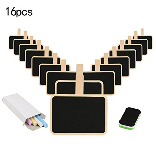 Mini Blackboard,KAKOO 16 Pcs Retangle Chalkboard With Wooden Clip Tag Signs for Wedding Party Decor Note - Sign Clip