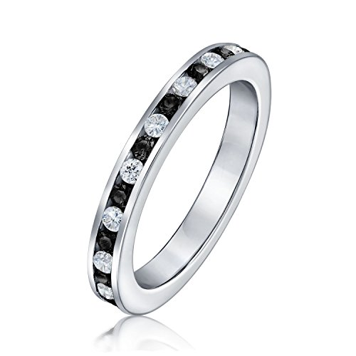 Bling Jewelry Sterling Silver Stackable Eternity Band Ring Channel Set Black CZ - Size 4 Daring Diamonds Diamond Ring