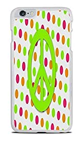 Green Peace sign on Orange and Pink Dots White Hardshell Case for iPhone 6+ (5.5)