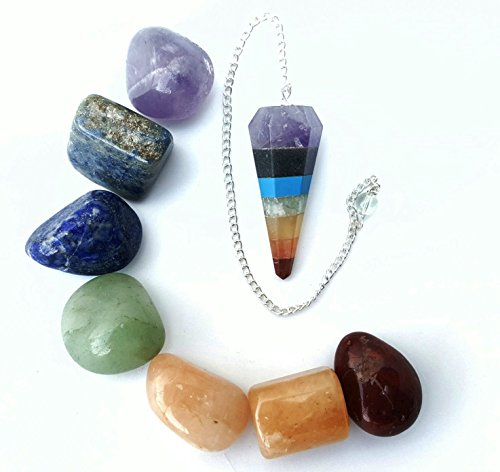 7 Chakra Tumbled Stone and Pendulum Healing Crystals Set