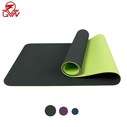 "GVN Thick Fitness/Pilates/Yoga Mat with Carrying Strap Non Slip Anti-Tear Eco Friendly TPE Material Exercise Workouts Fitness Mats For Men & Women 72""x24"" 6mm"