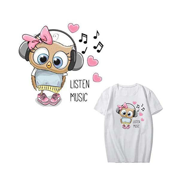 TOTAL HOME : Cartoon Music Owl Patch Iron on Transfer Heart Patches for Kids Girl Clothing DIY T-Shirt Heat Transfer Vinyl Stickers Applique