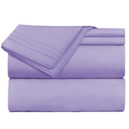 Nestl Bedding 4 Piece Sheet Set - 1800 Deep Pocket Bed Sheet Set - Hotel Luxury Double Brushed Microfiber Sheets - Deep Pocket Fitted Sheet, Flat Sheet, Pillow Cases, Full - Lavender ()
