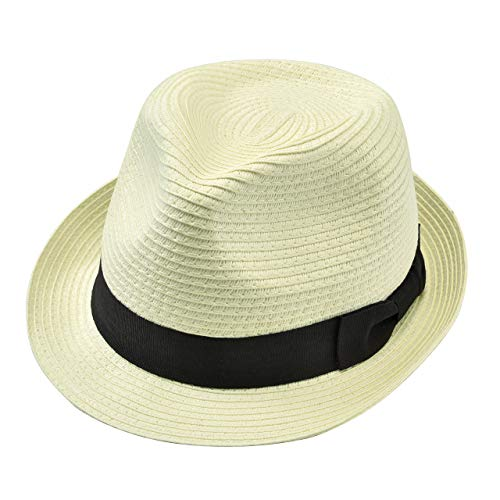 Ayliss Straw Trilby Hats Cuban Short Brim Fedoras Panama Roll Up Hat Gangster Cap for Women/Men (Beige)