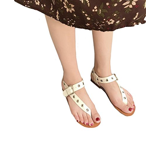 Seamount Fashion Women Girl Rome Punched Metal Buckle Sandals Concise Flat Bottom Shoes (US:7, (Metal Kids Sandals)