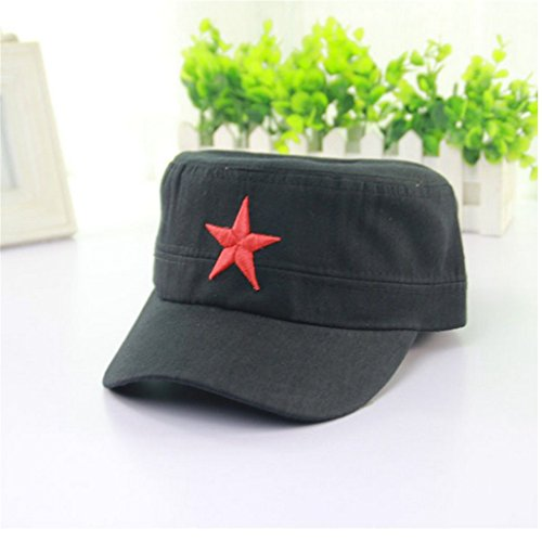 Ryan&Han's Men 's Outdoor Casual People' s Liberation Army Five - pointed Star Hat Flat Top Hat - Shopping Panama Online