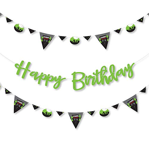 Big Dot of Happiness Zombie Zone - Birthday Zombie Crawl Party Letter Banner Decoration - 36 Banner Cutouts and Happy Birthday Banner -
