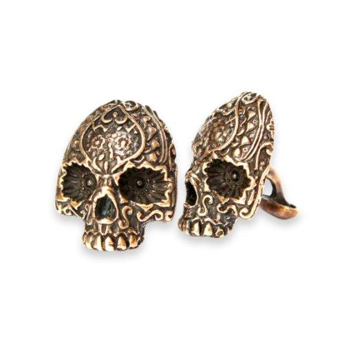 Day of the Dead Sugar Skull Cufflinks - Sugar Skull Cufflinks in Solid Bronze or Sterling Silver White Bronze (Solid Bronze) (Cast Silver Custom Sterling)