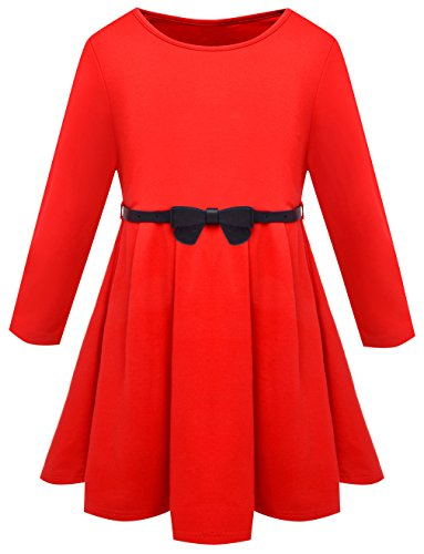Fly Rain Kids Girls Dress Long Sleeve Cotton Pleated Princess Dresses With Belt Red Size 5