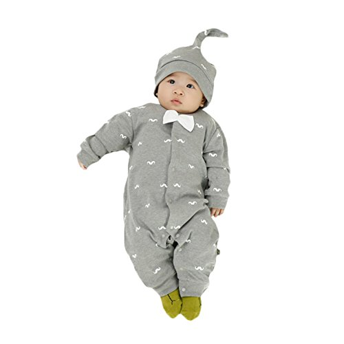 FlyBear Newborn Infant Baby Boys Warm Bodysuit Underwear Pajamas Print Romper Long Sleeve Gentleman Jumpsuit Outfits & Hat Grey 6 Months
