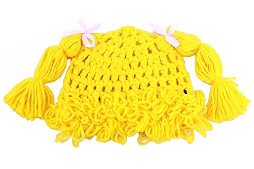 Dorfman Pacific Kindercaps Yellow Knitted Pig Tail Skully Winter Hat (Fits (Dorfman Pacific Winter Beanie)
