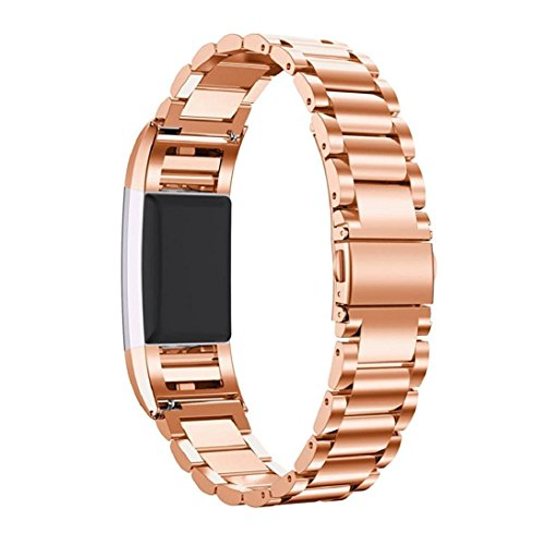 Fitbit Charge 2 Bands, Kuxiu Adjustable Stainless Steel Metal Wristband Strap with Adjustment Tool for Fitbit Charge 2 Tracker (Rose Gold)
