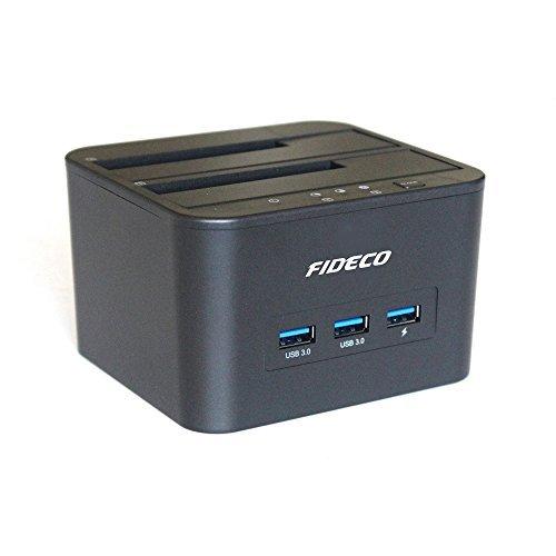 USB3.0 to SATA Dual Bay Hard Drive Docking Station with 3-port USB3.0 Hub for 2.5/3.5inch SATA I/II/III HDD/SSD Offline Clone,Support 2x 10TB and UASP