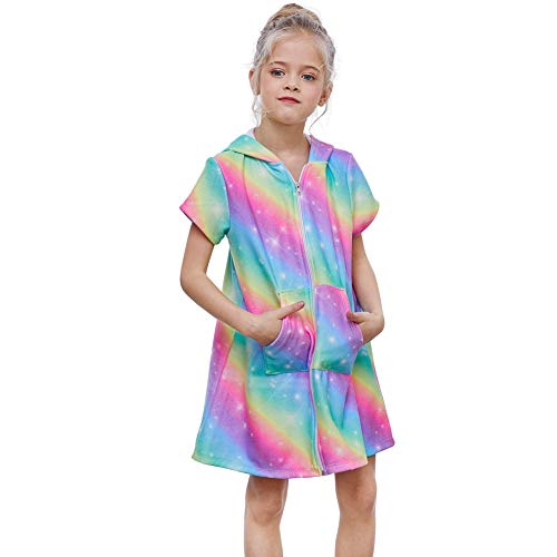 Basumee Girls Terry Cover Up Rainbow Hooded Terry Cloth Swim Coverup for Beach - Cover Terry Swim
