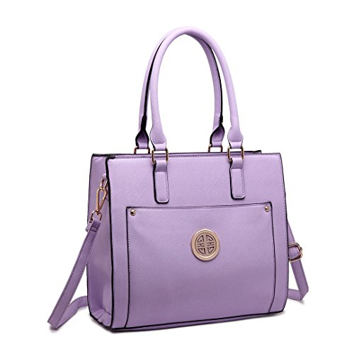 Faux Bags Satchel 1650 With Large Designer Lulu Miss Women For Tote Stylish Lilac Leather Front Pocket Handbag Shoulder x0qzXv0