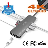 MKDGO 9 in 1 USB C Hub Multiport Adapter with 4K HDMI 1000M RJ45 3xUSB 3.0 3.5mm Audio/Microphone Jack MicroSD/SD Card Slot Type C Power Delivery Charging Port for MacBook and Windows PC/Tablet
