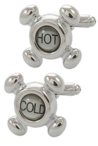 Cold Faucet Cufflinks - COLLAR AND CUFFS LONDON - Premium Cufflinks with Gift Box - Hot and Cold Faucet - Plumber DIY Plumbing Construction Tap Water - Silver and Black Colors