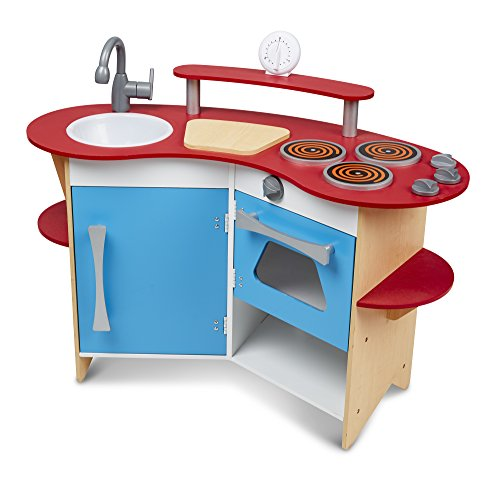 Melissa & Doug Cook's Corner Wooden Pretend Play Kitchen is one of the best toy kitchens for kids