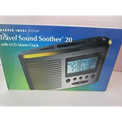 Sharper Image Portable Travel Sound Soother 20 with LCD Alarm Clock + Thermometer (SI601)