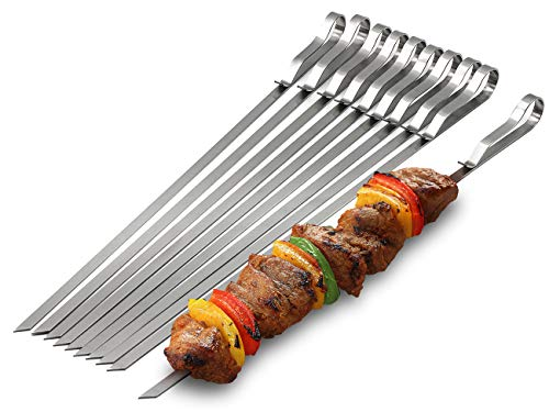 "Sorbus Kabob Barbecue Skewers 17"" Long with Portable Carry Case, Reusable BBQ Sticks, Non-Stick Stainless Steel Metal Skewers for Grilling, Great for Picnics, Parties, (Set of 10)"