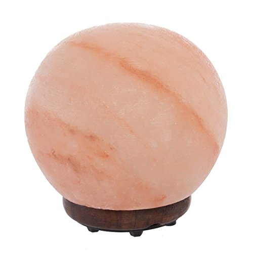 """Simply Genius Himalayan Salt Lamp Lights, Electric 5.5"""" Sphere Natural Crystal Salt Lamp Rock With Bulb & Cord, Air Purifier Night Light For Bedrooms, With Dimmer Switch, Large Round Salt Lamp"""