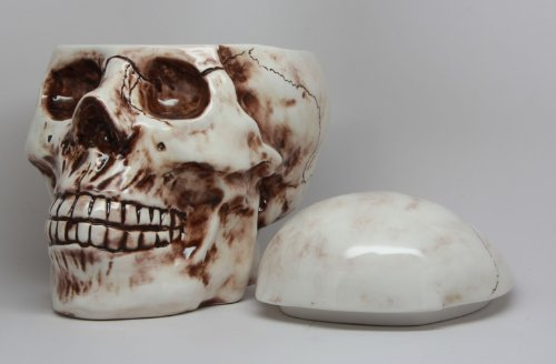 Skull With Fracture Wounds Ceramic Cookie Jar