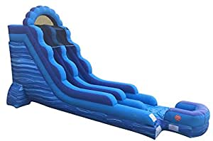 TentandTable Rhino 18-Foot Blue Marble Inflatable Water Slide, Wet or Dry, Commercial Grade, 1.5 HP Blower and Stakes Included