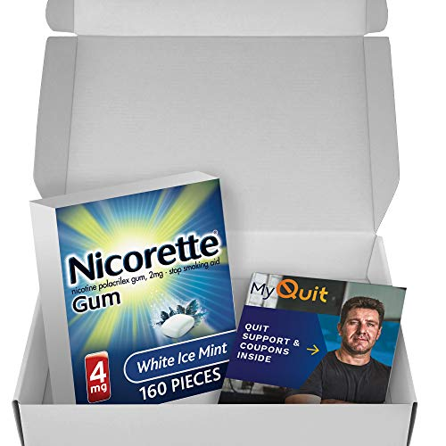 Nicorette Nicotine Gum to Stop Smoking, With Quit Support System, White Ice Mint, 4mg, 12 weeks Quit Smoking Aid, 160…