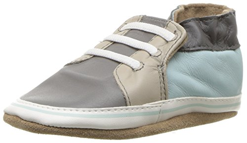 Robeez Boys' Soft Soles Sneaker Crib Shoe, Trendy Chris-Grey, 6-12 Months M US Infant (Soft Leather Boys)