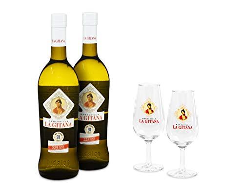 Pack 2 Botellas Manzanilla La Gitana 75 Cl. + 2 Catavinos