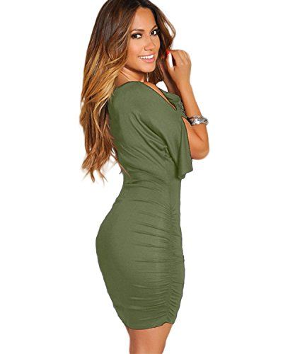 3XL BIUBIU Party Women's Sleeve M with Army Green Cold Bodycon Dress Bandage Shoulder Midi rXrPqw4