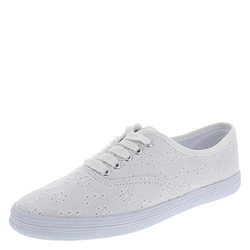 (city sneaks Women's White Eyelet Women's Bal Sneaker 11 Regular)