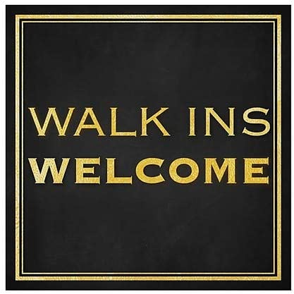 Walk Ins Welcome CGSignLab 24x24 Classic Gold Clear Window Cling 5-Pack