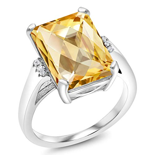 Gem Stone King 6.83 Ct Octagon Checkerboard Yellow Citrine 925 Sterling Silver Ring (Size ()