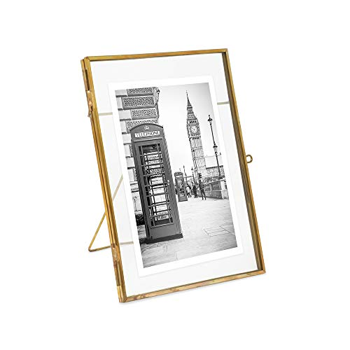 (Isaac Jacobs 5x7, Antique Gold, Vintage Style Brass and Glass, Metal Floating Desk Photo Frame (Vertical), with Locket Closure for Pictures, Art, More)