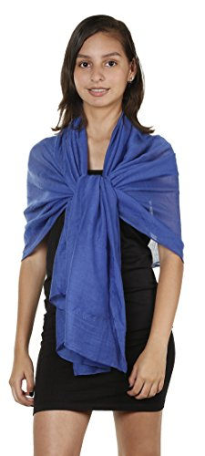 Light Weight Chiffon Solid Colors Long Evening Wrap Dress Scarves Royal Blue