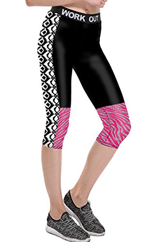 LOV ANNY Women's 3D Printed Cropped Yoga Leggings Capris Pattern Tights XXL