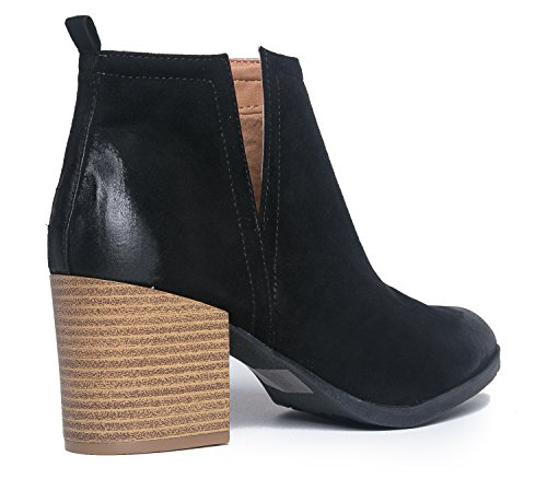 J. Adams Vestlige Slip På Stablet Hæl Tøffel - Side V-cut Boot - Distressed Skinn Lav Hæl - Barry Av Svart Pu