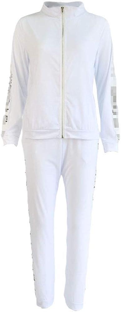 Chándal de Las Mujeres de la Clásico Moda de otoño del Resorte de Empalme Manga Larga con Cremallera Abrigos Ocasional Pantalones de Jogging Manera Simple Deportes al Aire Libre para Correr el Juego