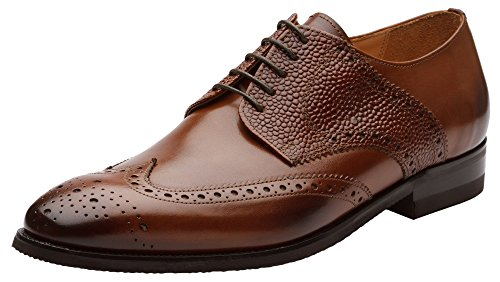 Dapper Shoes Co. Handcrafted Genuine Leather Men's Classic Wingtip Brogue Oxford Leather Lined Perforated Dress Oxfords Shoes US 10-10.5 - Brown Dress Elegant Leather Shoes