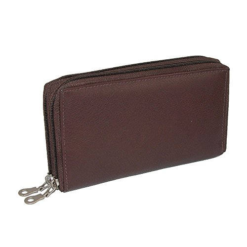 Paul & Taylor Leather Double Zippered Checkbook Cover Wallet, Dark Brown -