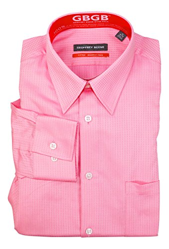 Geoffrey Beene Wrinkle-Free Textured Fitted Long Sleeve Dress Shirt (15 34-35, Blossom)