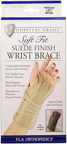 FLA Soft Fit Suede Left Finish Wrist Brace, Beige, - Pro Finish Suede
