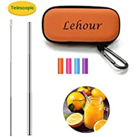 LEHOUR Reusable Telescopic Stainless Steel Collapsible Straw