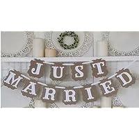 Stonges Just Married Wedding Bunting Cardboard Wedding Decoration, Vintage