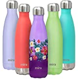 MIRA 17 Oz Stainless Steel Vacuum Insulated Water Bottle | Double Walled Cola Shape Thermos | 24 Hours Cold, 12 Hours Hot | Reusable Metal Water Bottle | Leak-Proof Sports Flask | Tropical Flowers