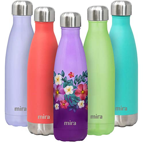MIRA 17 Oz Stainless Steel Vacuum Insulated Water Bottle | Double Walled Cola Shape Thermos | 24 Hours Cold, 12 Hours Hot | Reusable Metal Water Bottle | Leak-Proof Sports Flask | Tropical Flowers (Flowers Stainless Bottle Water)