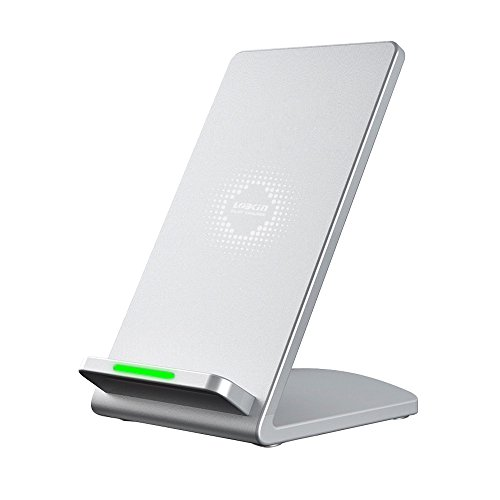 Wireless Charger,Lobkin QI Fast Wireless Charging Pad Stand for Samsung Galaxy Note 8 S8 Plus S8+ S8 S7 S7 Edge Note 5 and Standard Charge for iPhone X iPhone 8 iPhone 8 Plus (Silver Wireless Charger)