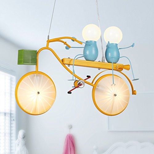 Yellow Ceiling Pendant Light - 2 Head E24/e14 Light Source Yellow Metal Painting Kids Ceiling Lamps for Children Room (Pendant Glass Rose Light)