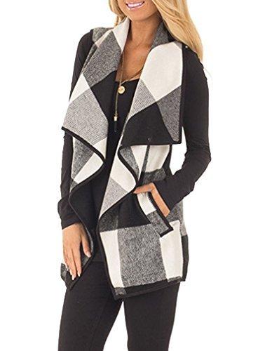 WomenWomens Lapel Open Front Sleeveless Plaid Vest Cardigan with Pockets L (Drape Front Short)
